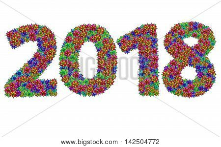 New year 2018 made from bromeliad flowers isolated on white background with clipping path