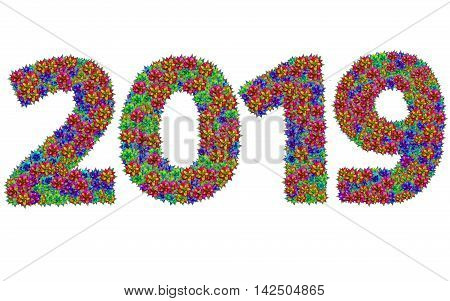 New year 2019 made from bromeliad flowers isolated on white background with clipping path