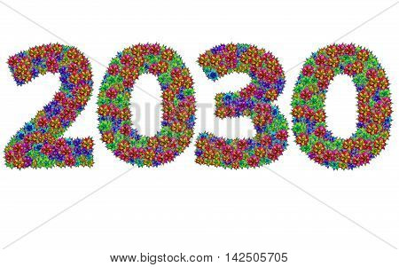 New year 2030 made from bromeliad flowers isolated on white background with clipping path