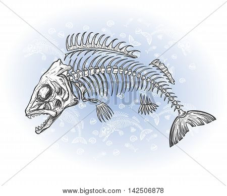 hand drawn fish skeleton sketch vector illustration