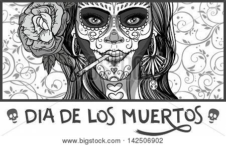 woman with sugar skull makeup day of the dead