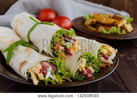 Appetizer of pita (lavash) stuffed with: salami cheese pickles carrots sauce greens. Shawarma