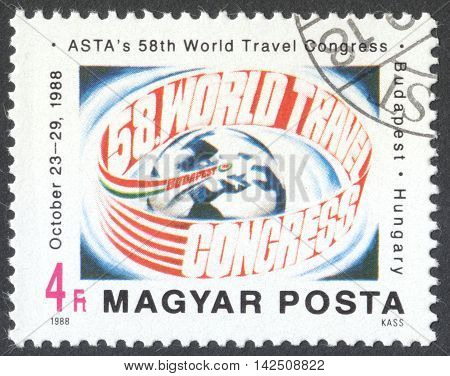 MOSCOW RUSSIA - CIRCA APRIL 2016: a post stamp printed in HUNGARY dedicated to the 5th World ASTA Congress Budapest circa 1988