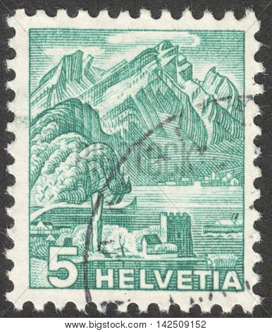 MOSCOW RUSSIA - CIRCA MAY 2016: a post stamp printed in SWITZERLAND shows Pilatus the series