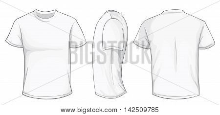 Vector illustration of blank white men t-shirt template front side and back design isolated on white