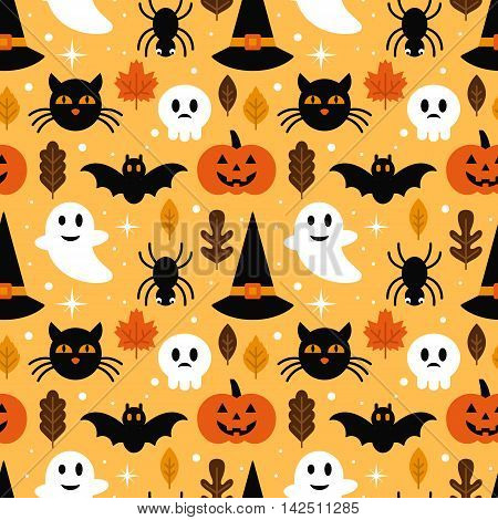 Halloween Seamless Pattern Design With Ghost, Skull, Pumpkin And Black Cat