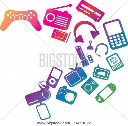 modern electronic entertainment illustration multi colored graphic