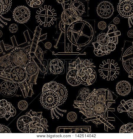 Seamless linear background with vintage cogs, gears and mechanical parts on black. Hand drawn repeated illustration with old mechanisms in steampunk graphic style