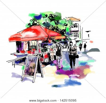 original digital sketch watercolor of Kyiv street cafe with people and umbrella, Ukraine town landscape, pleinair drawing, vector illustration
