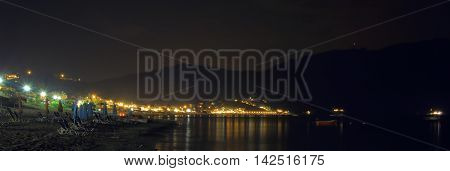 night scene of the town agios georgios pagon on the island corfu taken with bulb exposure by night