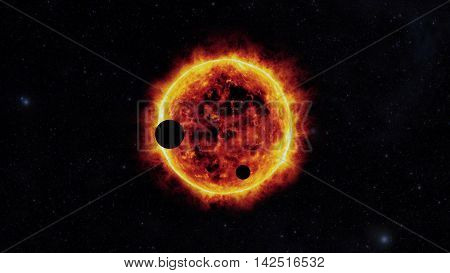 sun with exoplanets, in other galaxy, fantasy poster