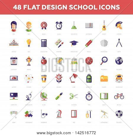 School and education vector school, college flat design icons, pictograms set. Sience, art, shoolchildren, stationery, lessons graduation award homework tests