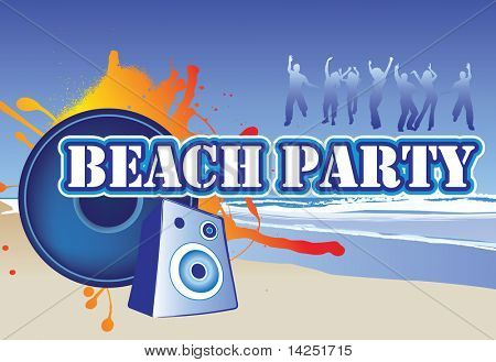 illustration of a beach party invite or flyer
