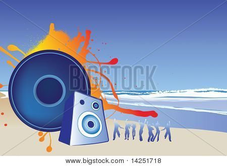 illustration of a beach party music background