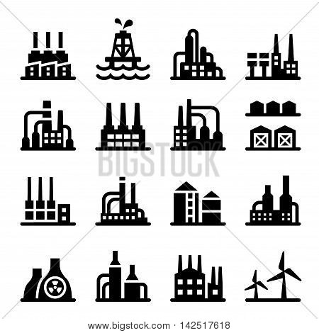 Industrial building factory oil gas power nuclear icon set