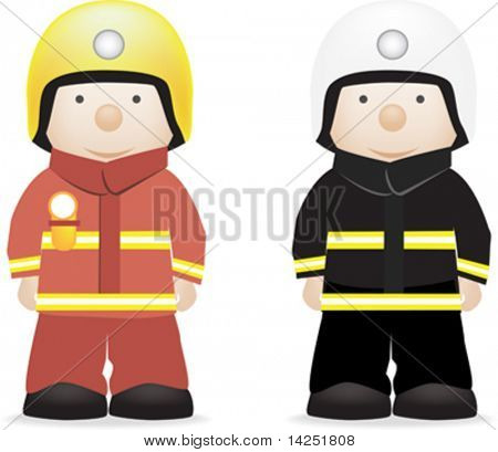 vector character illustration of a fireman (british and american)