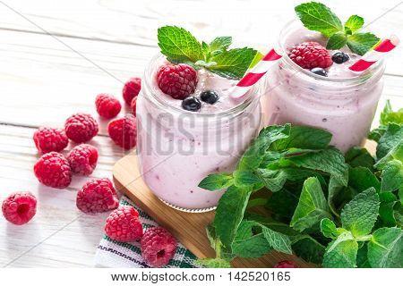 Raspberries Fruit Smoothie Or Milk Shake