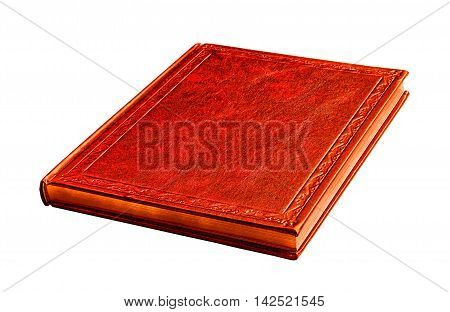 red book with gold pages isolated on white background