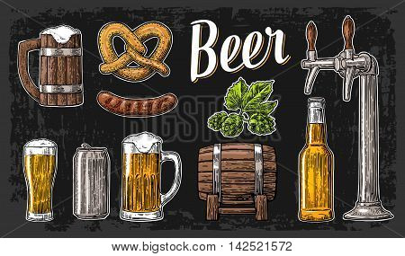 Beer set with tap class can bottle barrel sausage pretzel and hop. Vintage vector engraving illustration for web poster. Hand drawn design element isolated on dark background.