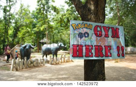 Korat Zoo, Thailand - AUGUST 13, 2016: Korat Zoo is a Gym on map in Pokemon Go game.There is a famous zoo in Korat, Thailand.