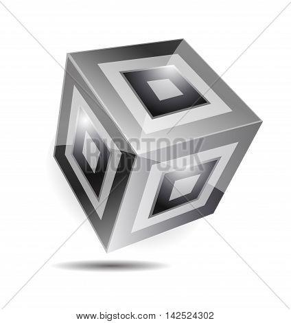Black white cube logo design 3d icon vector company element template corporate business media games
