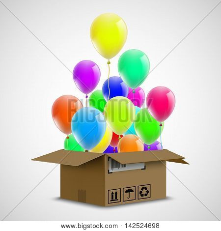 Air ballons in a cardboard box. Cargo delivery. Celebration events. Stock vector illustration.