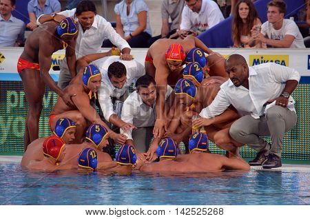 Budapest Hungary - Jul 15 2014. Spanish waterpolo team preparing for the battle-cry. The Waterpolo European Championship was held in Alfred Hajos Swimming Centre in 2014.