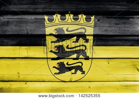 Flag Of Baden-wurttemberg With Coat Of Arms, Germany, Painted On Old Wood Plank Background