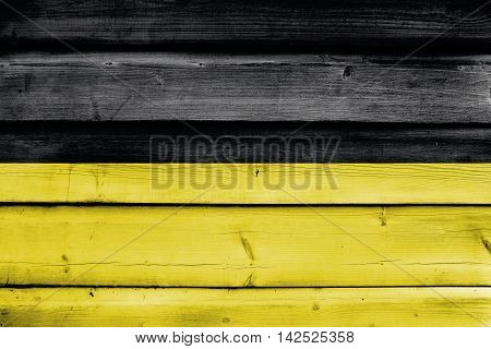 Flag Of Baden-wurttemberg, Germany, Painted On Old Wood Plank Background