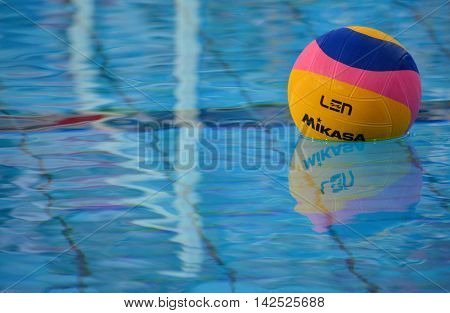 Budapest Hungary - Jul 15 2014. Waterpolo ball in the swimming pool.