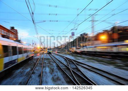 Blurred view of railway station. Santander. Spain.