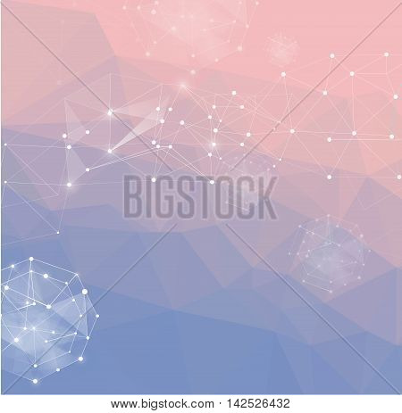 Abstract polygonal background. Low poly design connecting dots and lines. Connection structure. Polygonal vector Futuristic design. 2016 Pantone color. Rose Quartz and Serenity. gradient background