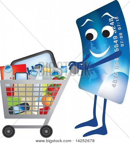 illustration of credit card and shopping trolley cartoon