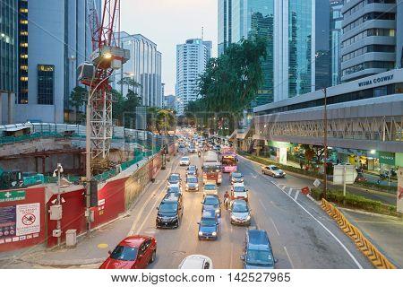 KUALA LUMPUR, MALAYSIA - CIRCA MAY, 2016: Kuala Lumpur at twilight. Kuala Lumpur is the national capital and most populous global city of Malaysia.