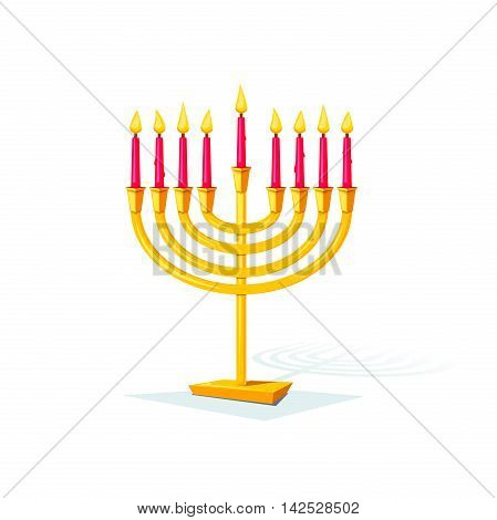 Happy Hanukkah, gold colors menorah isolated of background, vector illustration
