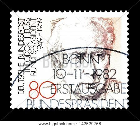 GERMANY - CIRCA 1982 : Cancelled postage stamp printed by Germany, that shows Theodor Heuss.