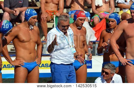 Budapest Hungary - Jul 15 2014. Alessandro Campagna head coach talking about strategy to the italian team. The Waterpolo European Championship was held in Alfred Hajos Swimming Centre in 2014.