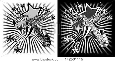 Sax and trumpet black and white Graphics with floral patterns.