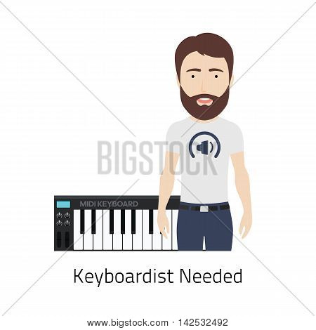 Vector Illustration of a Bearded Man with MIDI Keyboard. Could be used for Keyboardist Job Vacancy.