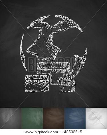 world logistic icon. Hand drawn vector illustration. Chalkboard Design