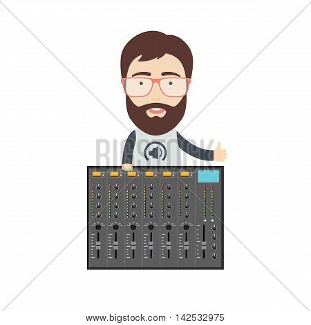 Vector Illustration in Flat Style of a Sound Engineer with Music Mixer