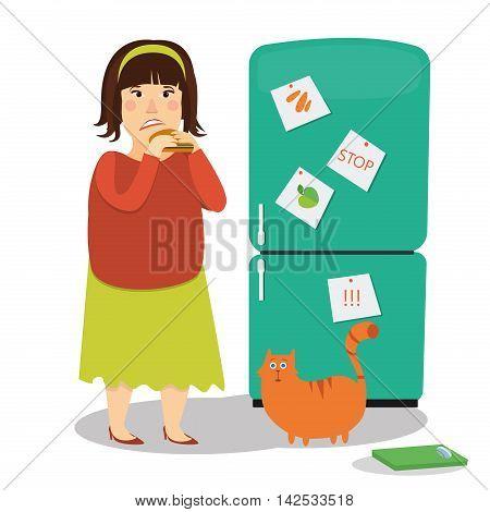 Fat woman eating hamburger next to fridge colorful image on white background.