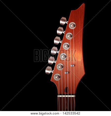 3d Illustration of brown wood electric guitar headstock with strings and tuning knobs on black.