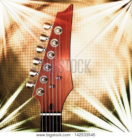 Close up 3D illustration  of guitar head stock with light abstraction and mirror ball background.