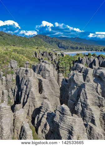 Interesting rock formation in New Zealand landscape
