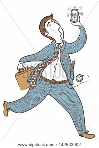 Doodle businessman late for work hand-drawing vector illustration