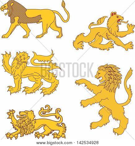 Set of heraldic lion figures. Vector illustrations.