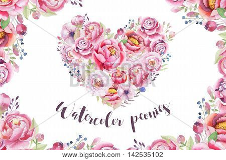 Watercolor vintage floral piony heart bouquet. Boho spring flowers and leaf frame isolated on white background: succulent branches leaves berries peony rose. Hand painted natural design
