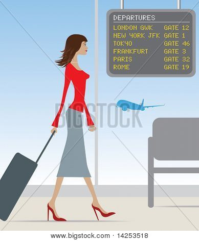 stylish woman travelling through a busy airport