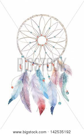 Isolated Watercolor decoration dreamcatcher with beads and boho feathers.Native Illustration for your design. Mystery bird ornament. Tribal culture.